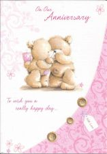 Our Anniversary Pink Teddy Bear Card