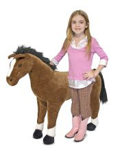 Lifelike Brown Horse Plush Soft Toy