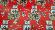 Pirate Happy Birthday Boys Gift Wrapping Paper Sheet