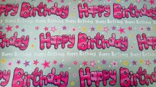 Pink & Silver Happy Birthday Gift Wrapping Paper Sheet