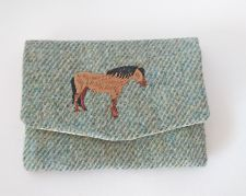 Hector the Highland Pony Handmade Green Tweed Coin Purse