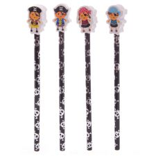 Childrens Pirate Pencil with Easer Top - 4 Designs
